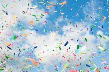 Coloruful confetti in sky